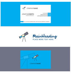 Beautiful telescope logo and business card vector