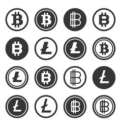 bitcoin and litecoin crypto currency icons set vector image