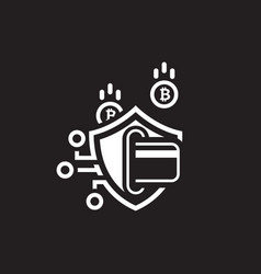 Bitcoin secure transaction icon vector