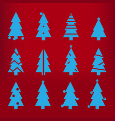 blue silhouette christmas trees stylized simple vector image