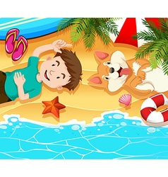 Boy and dog relaxing on the beach vector