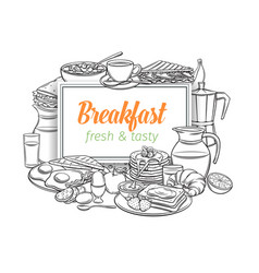 breakfast layout outline vector image