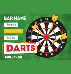 cartoon darts tournament horizontal invitation for vector image vector image