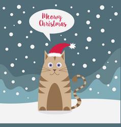 cat wearing santa hat in snowy landscape vector image