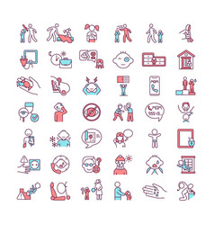 Child abuse and neglect rgb color icons set vector