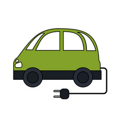 Color image electric car icon with connector vector