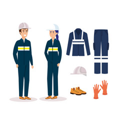 couple mechanics workers with equipment vector image