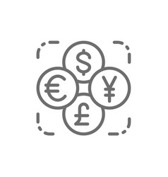 Currency exchange foreign money coin dollar vector