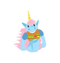cute funny unicorn character eating hamburger vector image