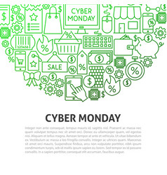 Cyber monday line concept vector