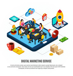 digital marketing isometric flowchart vector image