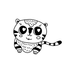 doodle tiger character vector image