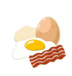 egg with butter and bacon vector image