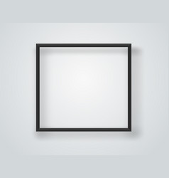 Empty black frame on a white wall template vector