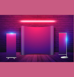 Exhibition stand in brick wall background neon vector