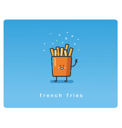 Flat icon of french fries funny character vector