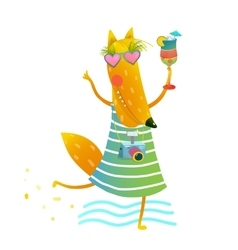 Funky Party Cocktail Fox Wearing Dress with Camera vector