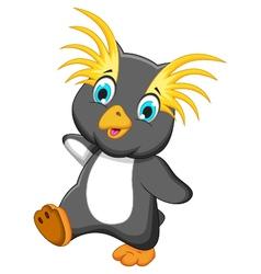 funny king penguin cartoon running vector image