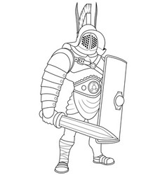 Gladiator line art vector