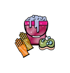 gloves and bucket with water and soap detergent vector image