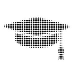 graduation cap halftone icon vector image