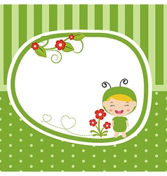 Greeting card with baby dressed as grasshopper vector
