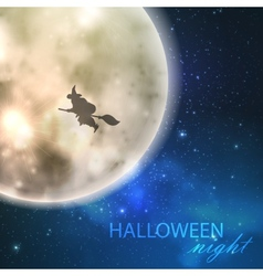 halloween with full moon and witch on night vector image