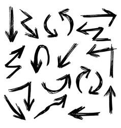 hand drawn arrow set doodle style vector image