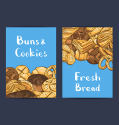 hand drawn colored bakery elements card or vector image