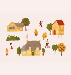 hand drawn village with houses trees and vector image