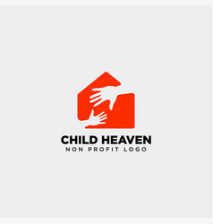 hand home charity logo template icon element vector image