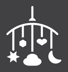hanging toys solid icon baby crib toys vector image