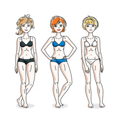 happy cute young women standing wearing colorful vector image