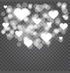 hearts confetti bokeh lights isolated on vector image