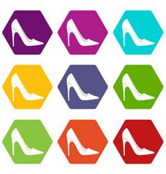 high heel shoe icon set color hexahedron vector image