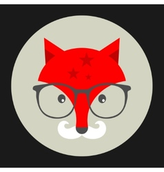 Hipster emblem with fox in glasses vector