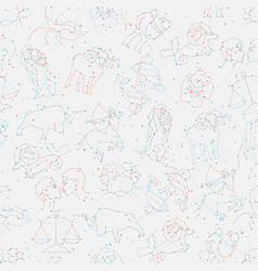 Horoscope seamless pattern all zodiac signs in vector