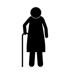 Icon silhouette elderly woman with walking stick vector