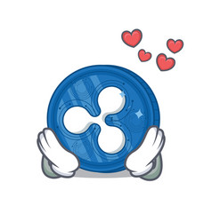 In love ripple coin character cartoon vector