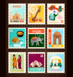 India travel stamp cards vector