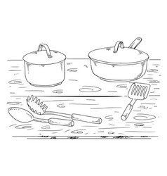 kitchen-elements-lineart vector image