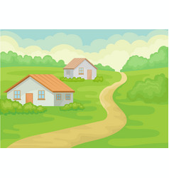 landscape of village with two small houses ground vector image