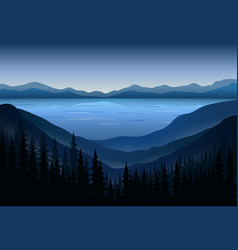 Landscapes view at mountain peaks vector