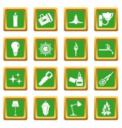 Light source symbols icons set green vector