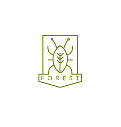 line art crest with bug and tree vector image