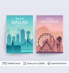 los angeles and dallas famous city scapes vector image