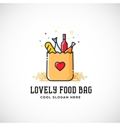 Lovely Food Paper Bag with Heart Symbol Bread vector