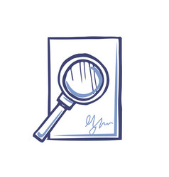 Magnifying glass on empty sheet paper signature vector