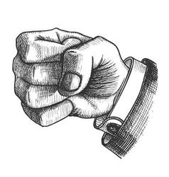 Male hand make fist gesture monochrome vector