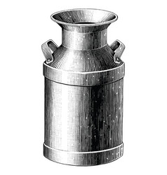 milk can hand drawing vintage style black and vector image